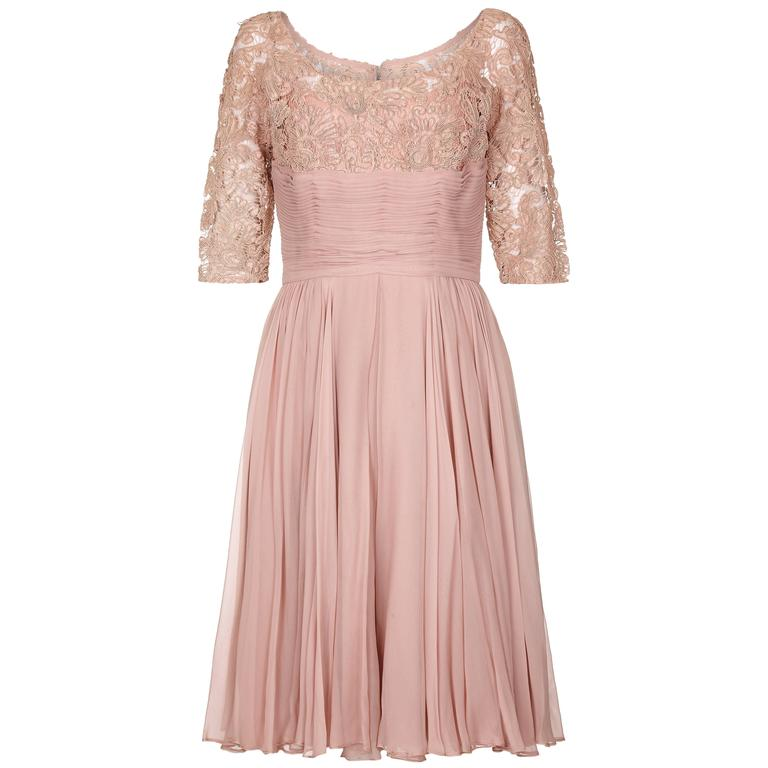 1960s Dusky Pink Corded Lace and Silk Chiffon Dress 1
