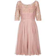 1960s Dusky Pink Corded Lace and Silk Chiffon Dress