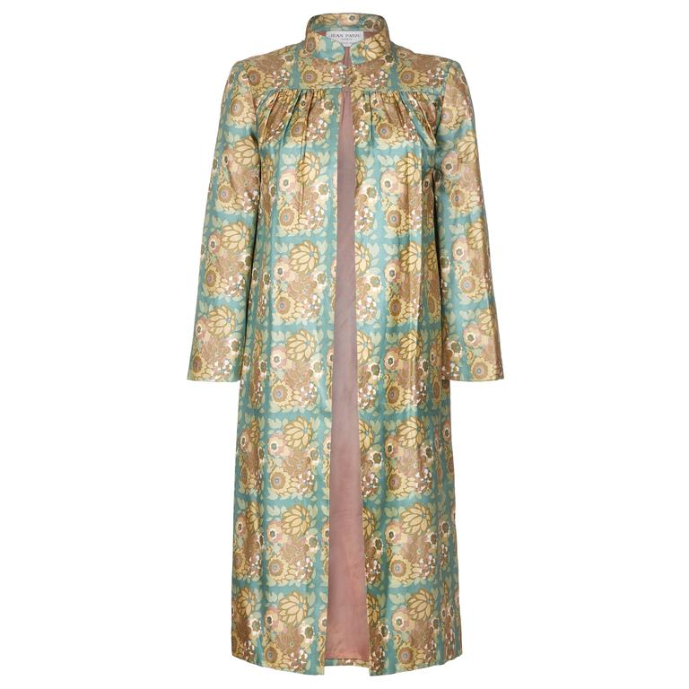 1960s Karl Lagerfeld for Jean Patou Silk Floral Duster Coat