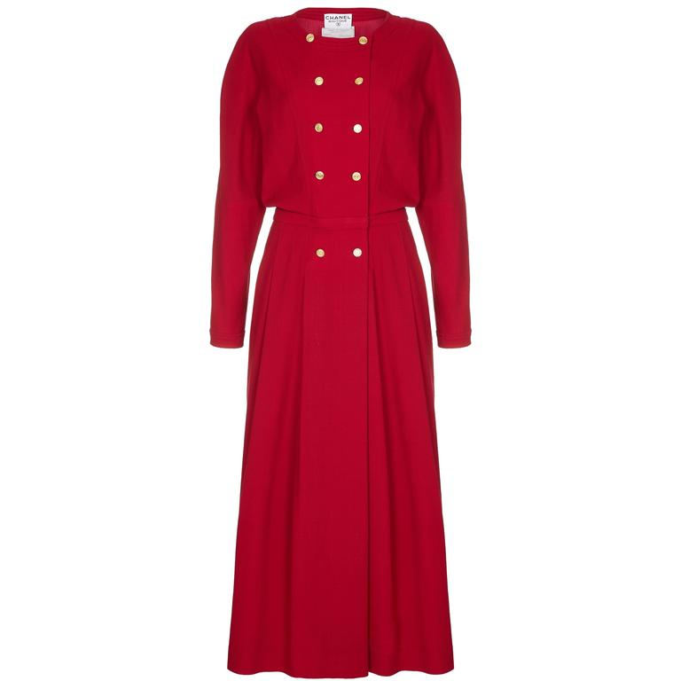 1980s Chanel Red Wool Dress 1