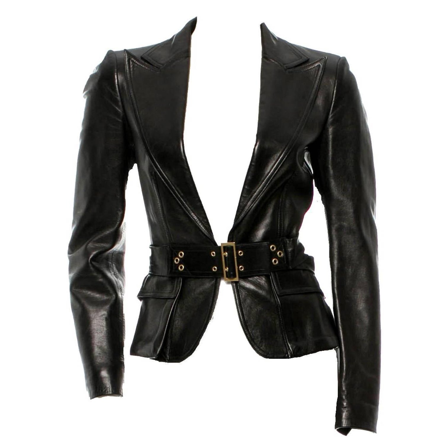 7057a90d4d4 Gucci by Tom Ford Corset Belt Leather Jacket, F / W 2003 For Sale at 1stdibs