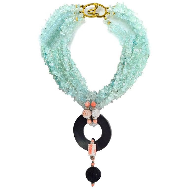 Evelyn Doura Ice Blue Multi-Strand Semi-Precious Stone Necklace For Sale
