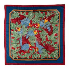 RARE FIND Vintage Hermes Silk Scarf 'Les Perroquets' by Joachim Metz