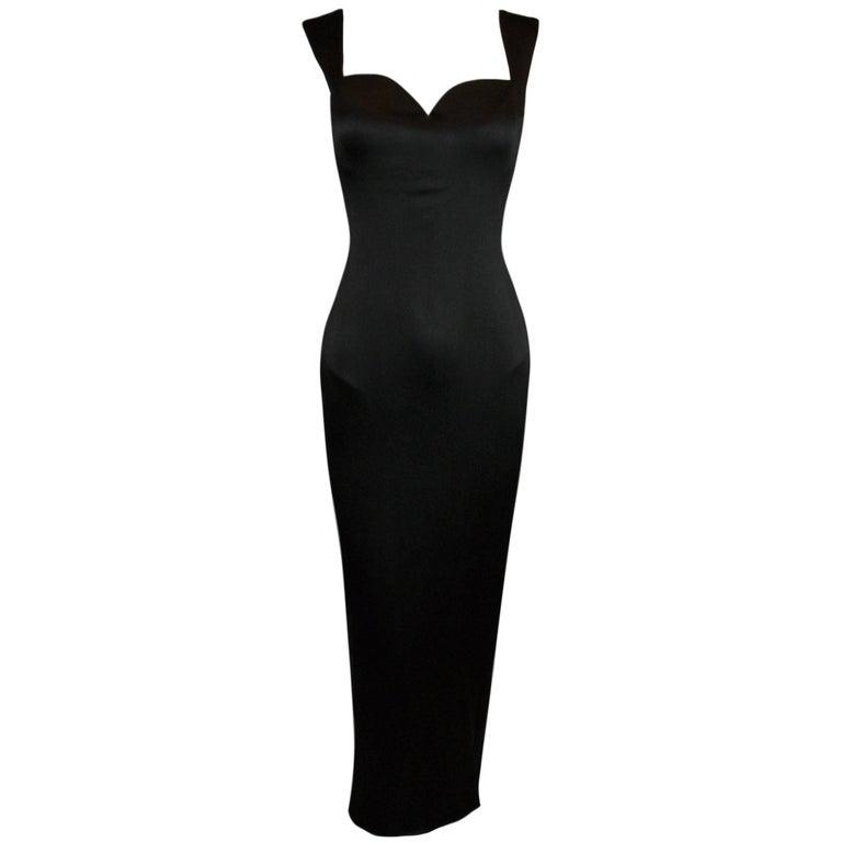 F/W 1995 Gianni Versace Black Silk Wiggle Gown Dress  For Sale