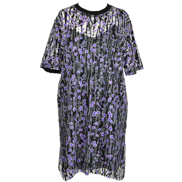 Carven Printed Plisse-georgette Short-sleeves Dress