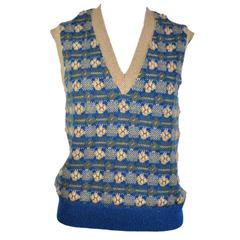 Chanel 2015 F/W Runway Multi-color Cashmere Knit Vest FR38 New