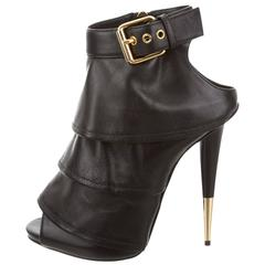 Giuseppe Zanotti NEW & SOLD OUT Black Leather Gold Heels in Box