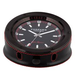 Chopard Leather Stainless Steel Men's Table Travel Mantel Clock in Box