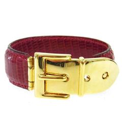 Gucci Red Men's Women's Gold Buckle Leather Cuff Bracelet in Box