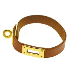 Hermes Cognac Leather Gold Cuff Bracelet in Box