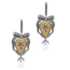 Alexander McQueen NEW & SOLD OUT Crystal Skull Pearl Evening Earrings
