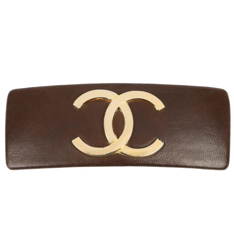 CHANEL Brown Leather Gold CC Logo French Classic Hair Clip Barrette