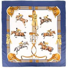 Hermes Multicolored Silk Ledoux Horse Pinted Scarf