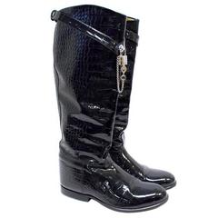 Dolce and Gabbana Crocodile Embossed Black Boots
