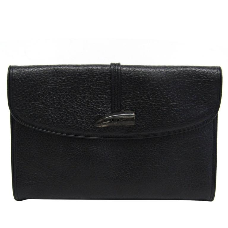 002177021a YSL Yves Saint Laurent Vintage Black Leather Envelope Evening Clutch Bag  For Sale