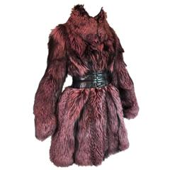 A/W 2006 Alexander McQueen Corset Belt Purple Fur Coat Jacket