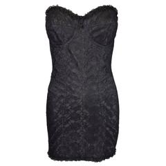 Dolce & Gabbana Lace Padded Bustier Corset Sheer Bandage Mini Dress ML, S/S 1992