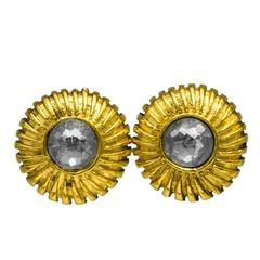 1970's Chanel Gold and Rhinestone Clip On Earrings