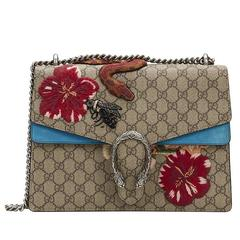 2016 Gucci Embroidered GG Supreme Canvas & Turquoise Suede Medium Dionysus