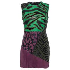 Versace Leather Patchwork Sleeveless Dress