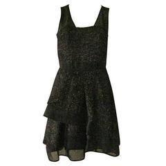 J. Mendel Gold Metallic and Textured Black Tiered Dress