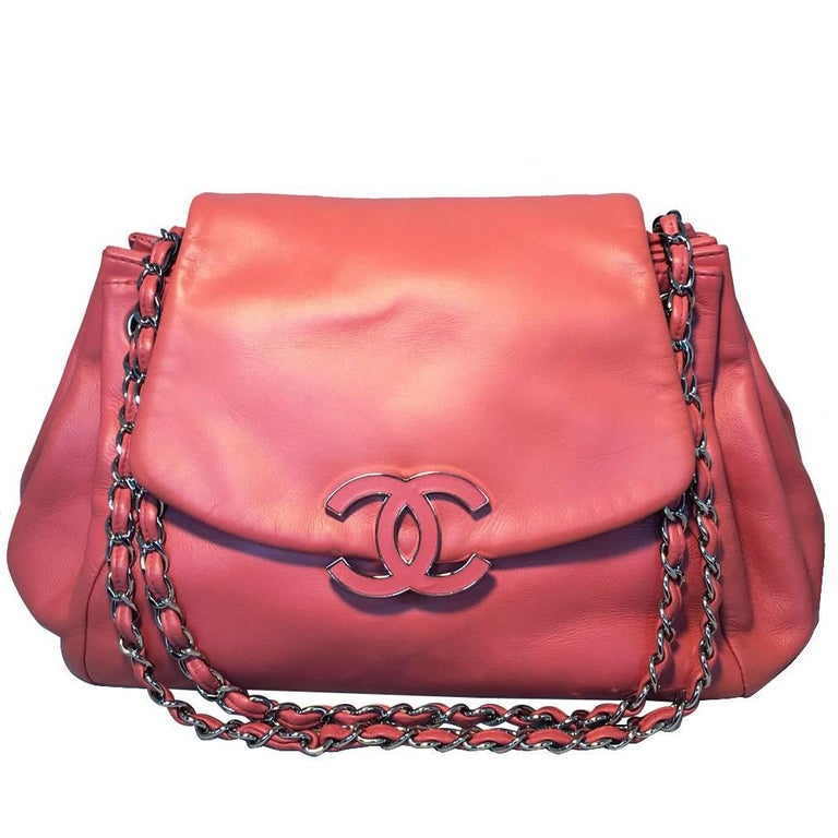 Chanel Coral Leather Top Flap Shoulder Bag  1