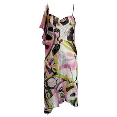 Emilio Pucci Signature Print Chiffon Silk Dress