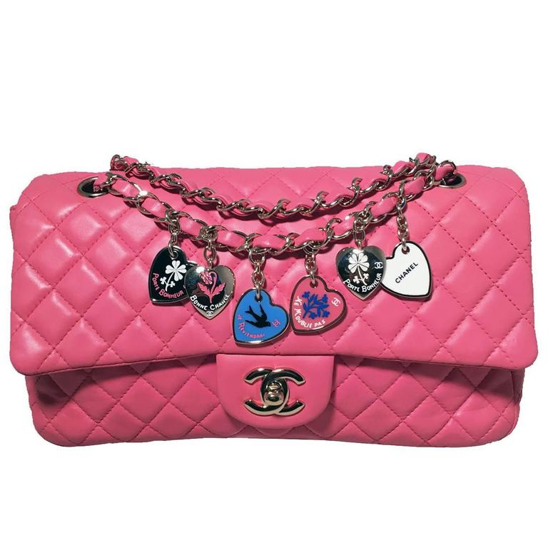 Chanel Pink Quilted Charms Classic Flap Shoulder Bag For Sale