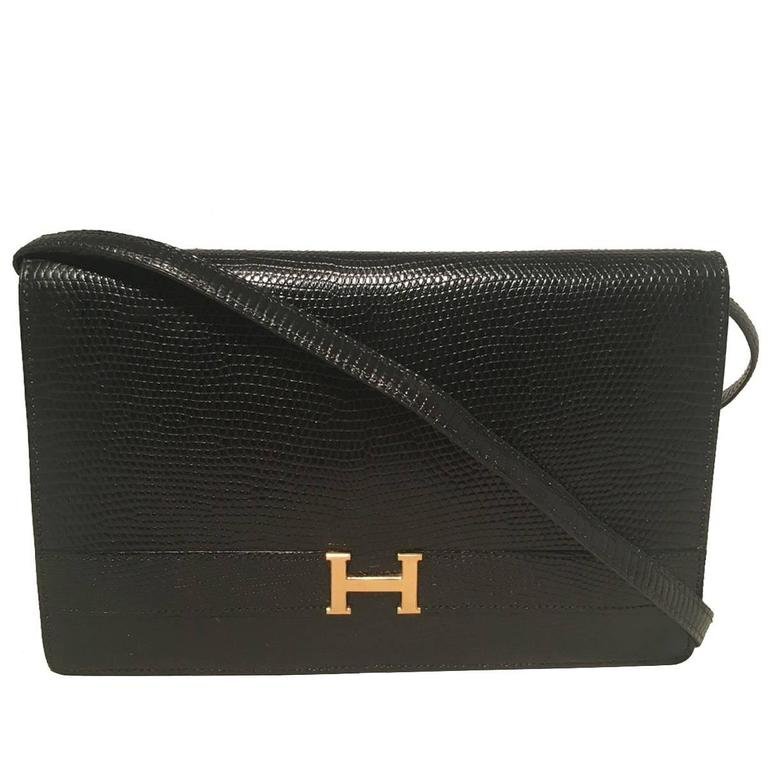 Hermes Vintage Black Lizard Shoulder Bag For Sale