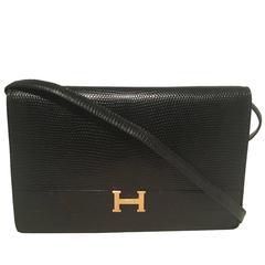 Hermes Vintage Black Lizard Shoulder Bag