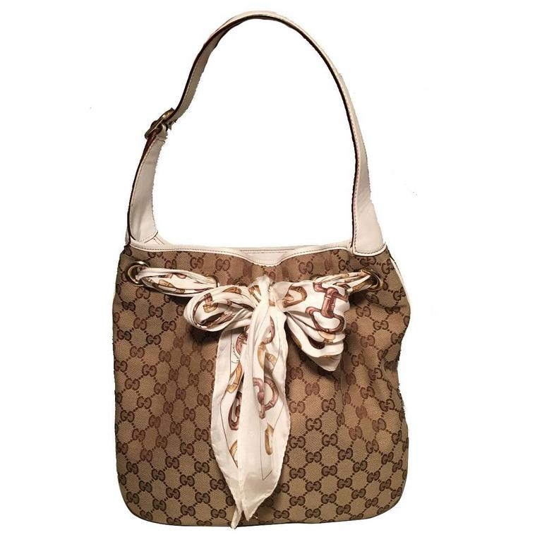 Gucci Monogram Canvas and Silk Scarf Shoulder Bag For Sale