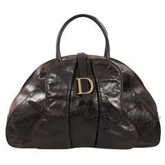 Brown Christian Dior Ostrich Tote Bag
