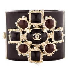 Chanel Rare Gripoix Crystal Statement Evening Bangle Charm Cuff Bracelet in Box