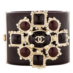 Chanel Rare Gripoix Crystal Statement Evening Bangle Charm Cuff Bracelet in Box