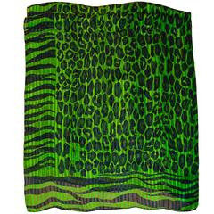 Yves Saint Laurent YSL Vintage Green & Black Animal Print Silk Scarf