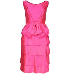 Vintage Bright Pink Raw Silk Cocktail Dress