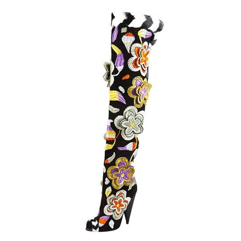 TOM FORD 2D Floral Embroidered Over-the-Knee Boots 2