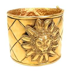 Chanel Rare Vintage Gold Textured Charm Lion Cuff Bangle Bracelet in Box