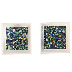 Margot de Taxco Sterling Silver Rare Confetti Enamel Cufflinks 1940