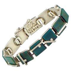 Antonio Pineda Green Bloodstone and .970 Silver Bracelet