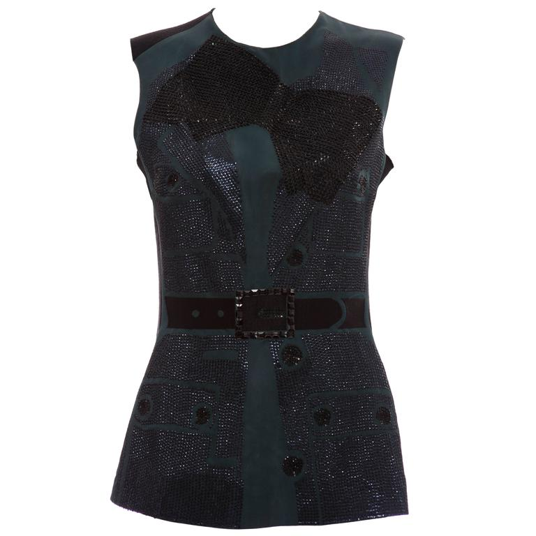 Lanvin By Alber Elbaz Sleeveless Trompe l'oeil  Silk Embellished Top Circa 2006