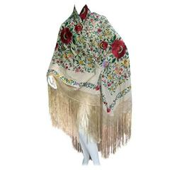 1920s Exotic Silk Floral Embroidered Piano Shawl