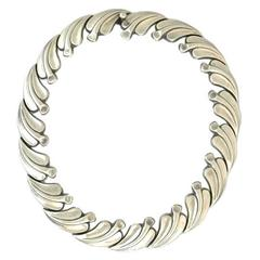 Antonio Pineda .970 Silver Leaf Motif Necklace