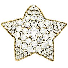 Rare 1983 CHANEL Star Shaped Brooch/Pendant with Brilliant Rhinestones