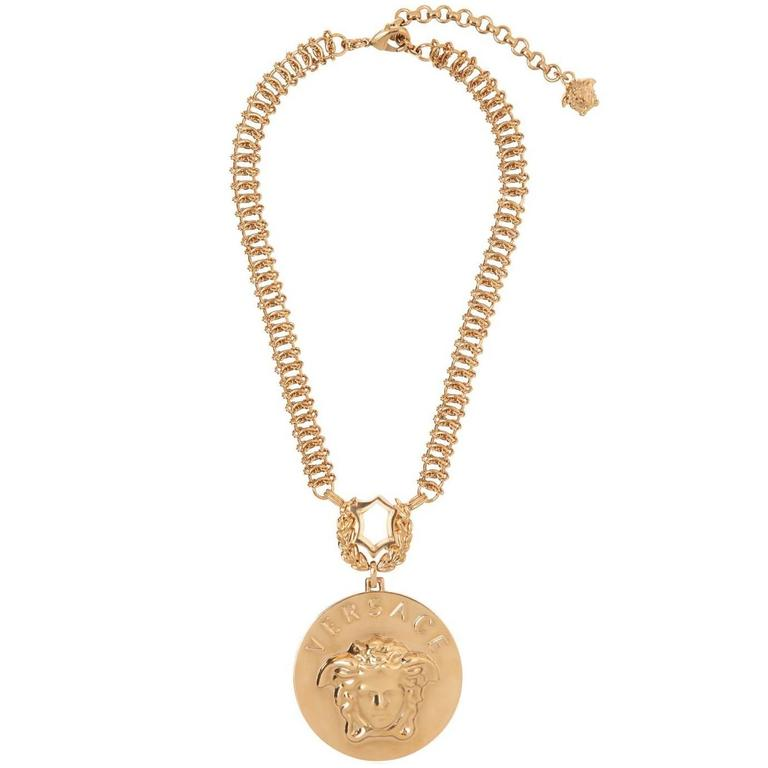 versace gold plated chain necklace with medusa for sale at