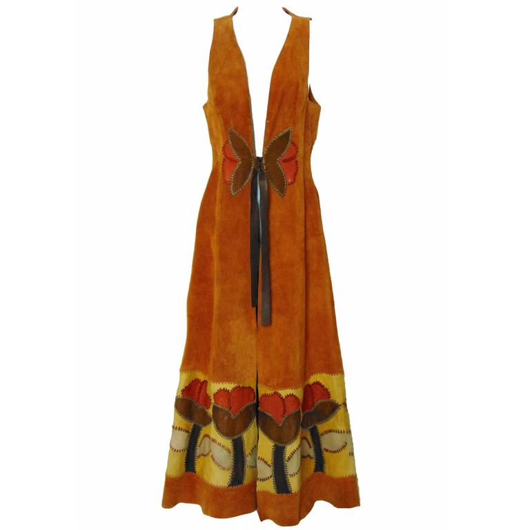 Char Vintage Long Suede Festival Dress or Vest with Floral Leather Inserts 70s S For Sale