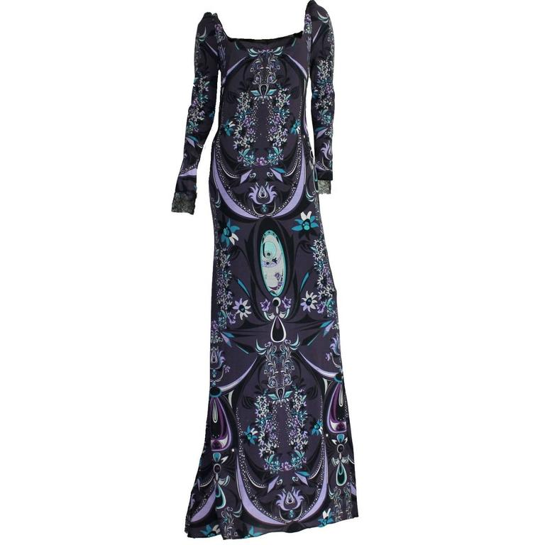 Emilio Pucci Signature Print Evening Gown Dress