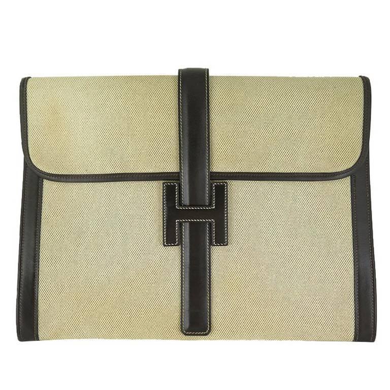 Hermes Unisex Brown Leather Toile Jige Jumbo GM Vintage Portfolio Clutch Bag