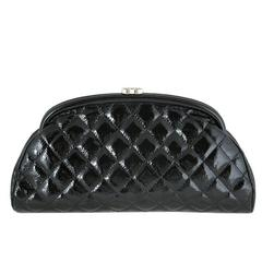 Chanel Black Distressed Patent Leather CC Timeless Clutch Bag