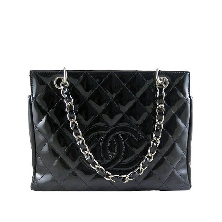 Chanel Ptt Black Patent Petite Timeless Shopping Tote Bag Purse For Sale
